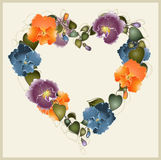 Greeting card with a bouquet of pansies. Stock Photos