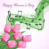 Greeting card with a bouquet of pink tulips and abstract musical notes. To the International Women`s Day on March 8 Royalty Free Stock Images