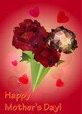 Greeting card with a bouquet of red roses. Polygonal red roses with water drops and hearts Royalty Free Stock Photo