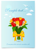 Greeting card with bouquet spring tulips. Vector illustration Royalty Free Stock Photos