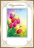 Greeting card with a bouquet of tulips Stock Photo
