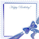Greeting card with a bow blue. Watercolor Stock Photo