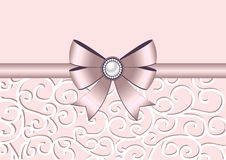 Greeting card with bow and ornament. Greeting card with bow, ribbon and ornament. Invitation, greeting card or card template. Also suitable for Valentines Day Stock Image