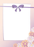 Greeting card with bow and pink flowers,  Royalty Free Stock Photo