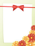 Greeting card with bow and red flowers,  Stock Images