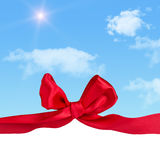 Greeting card with bow Royalty Free Stock Photography