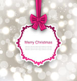 Greeting Card with Bow Ribbon on Light Background Stock Images