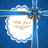 Greeting card with bow Royalty Free Stock Images