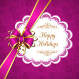 Greeting card with bow Stock Image