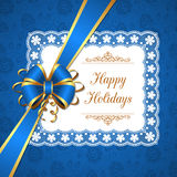 Greeting card with bow Royalty Free Stock Photo