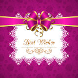 Greeting card with bow. Greeting card template with silk bow and lace doily. Vector Illustration Royalty Free Stock Photography