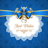 Greeting card with bow Royalty Free Stock Image