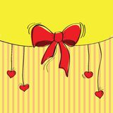 Greeting card with the bow. Vector illustration Royalty Free Stock Photography