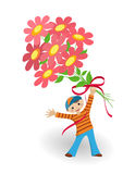 Greeting card - boy with flowers Royalty Free Stock Image