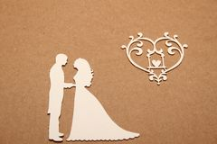 Silhouette of the bride and groom Stock Image