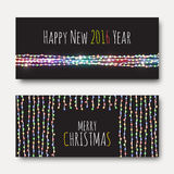 Greeting card with bright brilliant garlands. Festive design Stock Photos