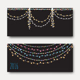 Greeting card with bright brilliant garlands. Festive design Royalty Free Stock Image