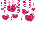 Greeting Card with Bright Hearts for Valentines Stock Images