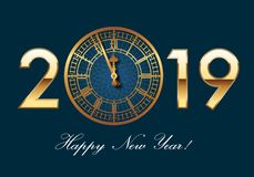 2019 greeting card concept with Big-Ben's clock instead of scratch. 2019 greeting card, with British elegance, resuming the clock of Big Ben just before stock illustration
