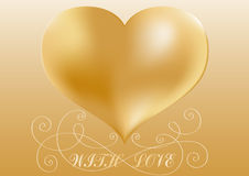 Greeting card with bronze heart Royalty Free Stock Photos