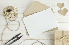 Greeting card with brown envelop Stock Image