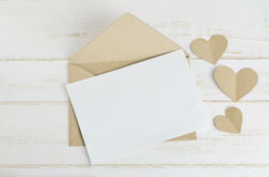 Greeting card with brown envelop Royalty Free Stock Images