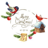 Greeting card with bullfinch, Birdhouse Christmas Royalty Free Stock Photo