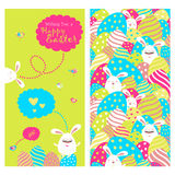 Greeting card with bunnies and easter eggs Stock Photography