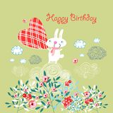 Greeting card with a bunny Royalty Free Stock Photo