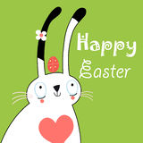 Greeting card with bunny for Easter Stock Photo