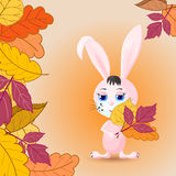 greeting card with Bunny and leaves Stock Photography