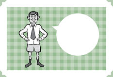 Greeting card with businessman in boxer shorts. Sarcastic meme layered vector illustration. Personalize it with your own humorous message Stock Photos