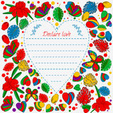 Greeting card, butterflies and flowers. cartoon. doodle style, lovely image. in the center of the heart Stock Photo