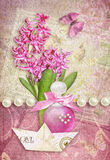 Greeting card with butterfly, hyacinth, perfume and paper boat. Postcard flower. Congratulations card with butterfly, pearls, hyacinth, perfume bottle and paper Royalty Free Stock Photo