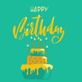 Greeting card with cake and candles. Birthday lettering. Vector illustration.  Stock Images