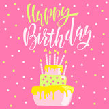 Greeting card with cake and candles. Birthday lettering. Vector illustration. Stock Photography