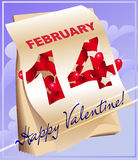Greeting card with calendar. Card with a calendar opened on  valentines day date and hearts hiding behind Stock Photo