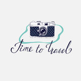 Greeting card with camera about travel, vacation, adventure. Stock Photo