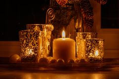 Greeting card with candle royalty free stock photos