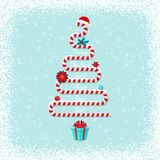 Greeting Card With Candy Cane As Christmas Tree Royalty Free Stock Photo
