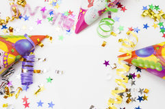 Greeting card for carnival party. hat and candles on white background. Stock Photography