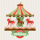 Greeting card with carousel Stock Images