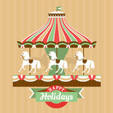 Greeting card with carousel Royalty Free Stock Photography
