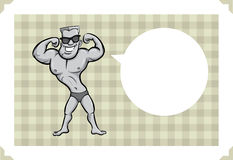 Greeting card with cartoon bodybuilder - personalize your card w. Greeting card with cartoon bodybuilder - sarcastic meme layered vector illustration Stock Image