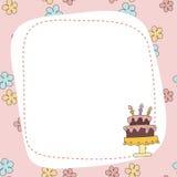 Greeting card with cartoon cake. Royalty Free Stock Photos