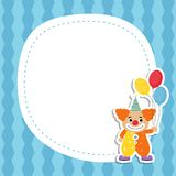 Greeting card with cartoon clown. Circus theme royalty free illustration