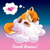 Greeting card with a cartoon fox on the cloud. A lovely greeting card with a hand drawn fox sleeping on the cloud and an example text message sweet dreams Royalty Free Stock Image