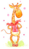 Greeting card of cartoon giraffe Stock Photography