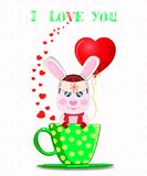 Greeting card with cartoon rabbit in hat with ear flaps. Scarf and mittens holding red heart balloon, sitting in green cup with polka dots on white background Stock Images