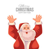 Greeting card cartoon Santa Claus with hands up Royalty Free Stock Images